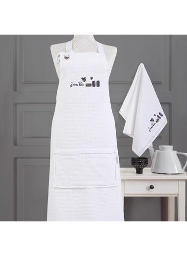 Marie Claire Mutfak Onlugu-Candıce %100 Pamuk Beyaz Beyaz